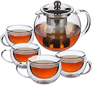 BTäT- Tea Pot, Tea Set, Set of 4, Tea Cups, Glass Teapot, Glass Tea Cup, Tea Kettles Stovetop, Tea Set for Adults, Glass Tea Kettle, Tea Pots, Tea Kettle with Infuser, Double Wall Glass, Glass Tea Mug
