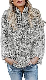 Happy Sailed Women's Casual Fuzzy Fleece Zip Up Fluffy Pullover Sweatshirt Outwear