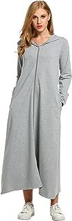 Women's Long Sleeve Zipper Up Ultra-Soft Cotton Hoodie Sweatshirt Dress with Pockets