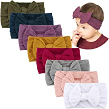 Best Makone Handmade Baby Headbands Stretchy Nylon Headband with Bows for Infant Baby Toddler Girls- Pack of 8 Review