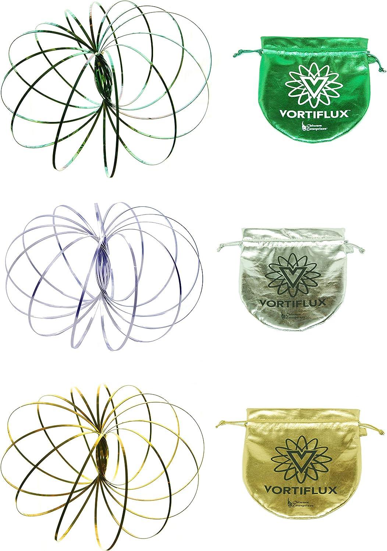 Vortiflux Three Pack Infinite Flow Rings Spring Toy Purple, Green, Gold