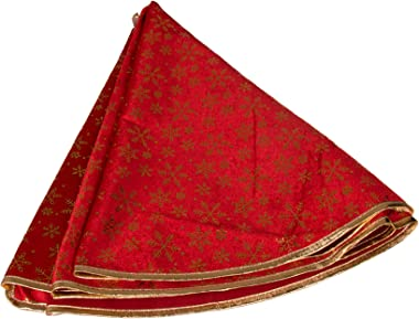 """Clever Creations Red Christmas Tree Skirt with Gold Snowflakes Festive Holiday Design 