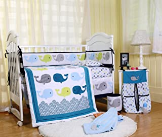 Spring Baby Crib Bedding Set 8 Piece Nursery Crib Bedding Set for Baby Boys and Girls, Including Comforter, Crib Sheet, Crib Skirt, Bumpers and Blanket(Clourful Whales-8 Piece)
