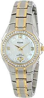 Pulsar Women's PXT798 Crystal Mother of Pearl Dial Watch