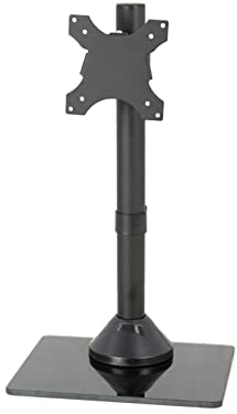 VIVO Single LCD Computer Monitor Mount, Freestanding Desk Stand with Glass Base for 1 Screen up to 32 inches STAND-V001HG