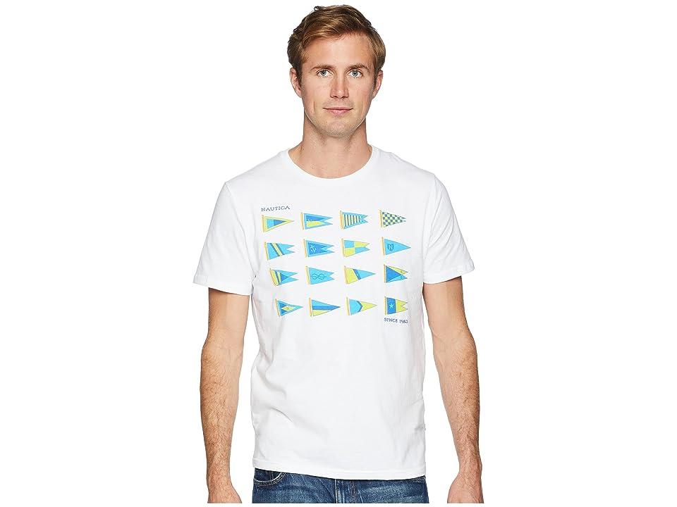 Nautica Heritage Sail Flags Crew T-Shirt (Bright White) Men