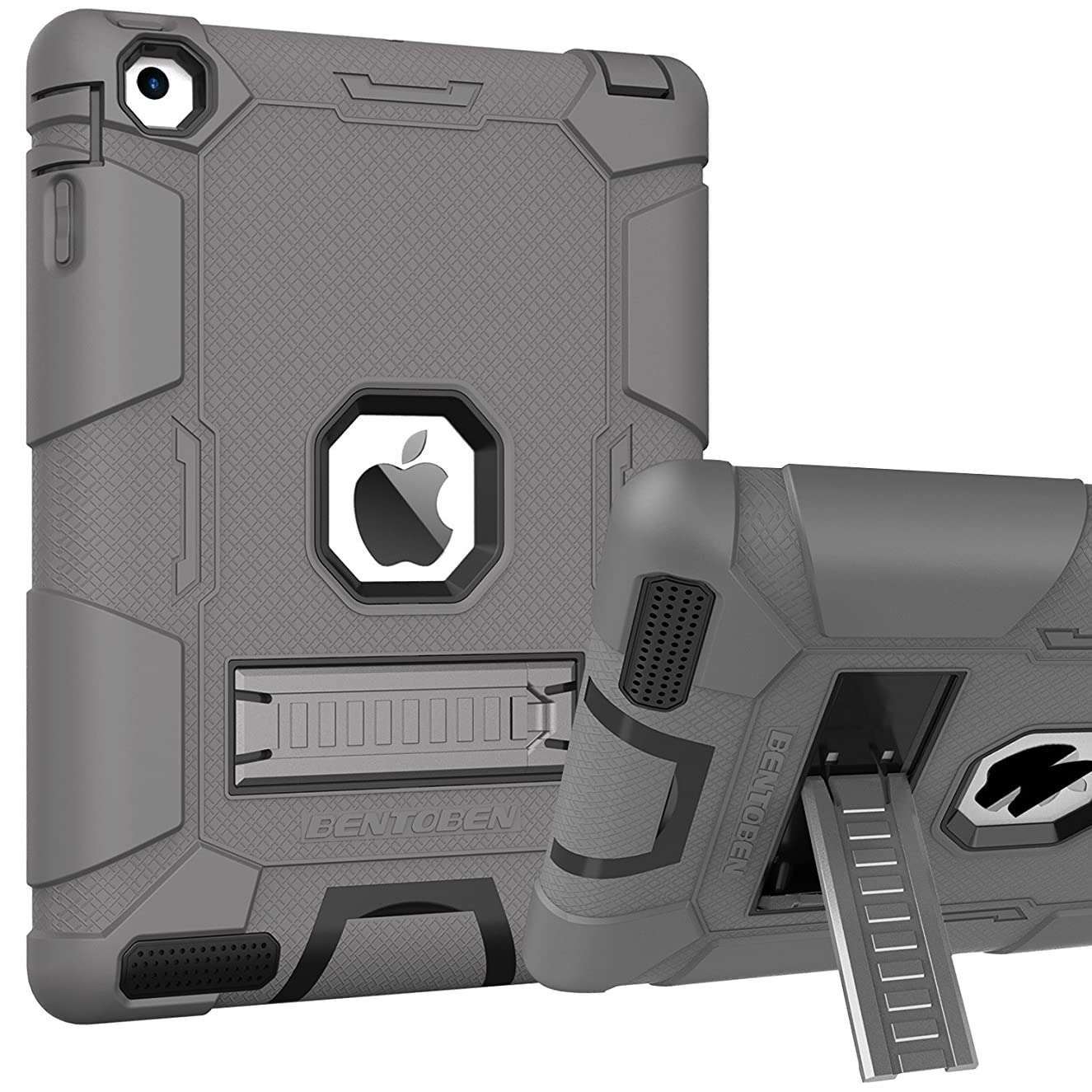 iPad 2 Case, iPad 4 Case,iPad 3 Case,BENTOBEN Kickstand Three Layers Hybrid Heavy Duty Full Body Rugged Shockproof Drop Resistance Anti-slip Protective Case Cover for iPad 2/3/4 Retina,Dark Gray/Black