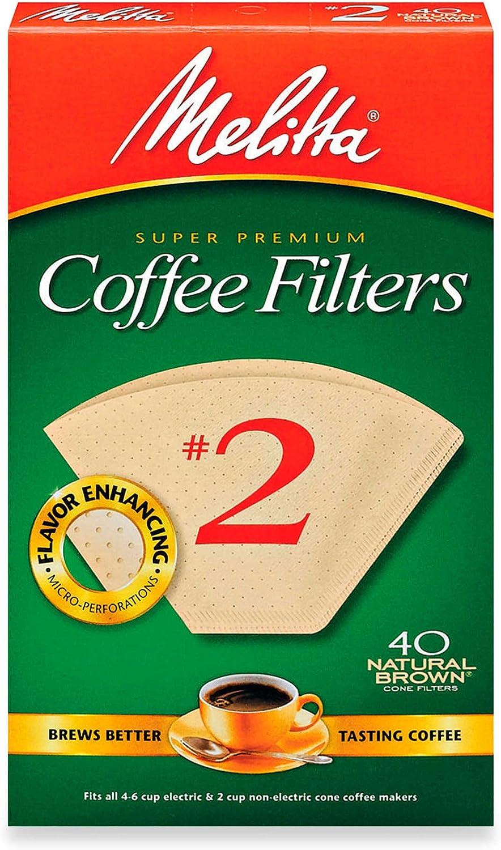 Melitta 40-Count Number Popular popular 2 Natural Coffee Fil Premium Brown Super Recommended