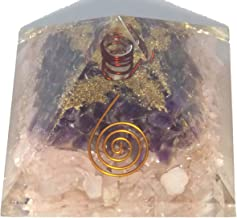Orgone Pyramid (Rose Quartz & Amethyst w/Copper-Coiled Quartz Point)