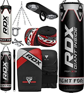 RDX Punching Bag Filled Set Kick Boxing MMA Heavy Muay Thai Training Gloves Punching Mitts Ceiling Hook Hanging Chain Anch...