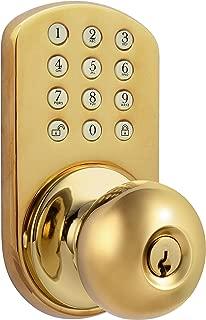MiLocks TKK-02P Digital Door Knob Lock with Electronic Keypad for Interior Doors, Polished Brass