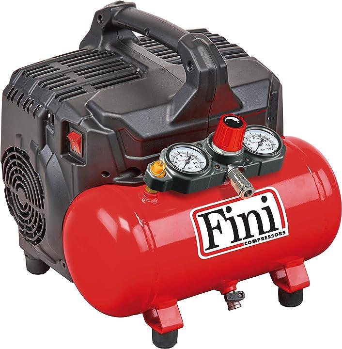 Compressore silenzioso 2 manometri (59 db) 6l 1.0 hp 8 bar 750 w 230 v rosso fini siltek s/6