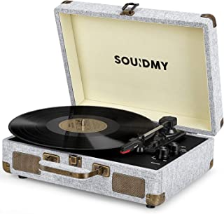 Souidmy Vinyl Record Player, Bluetooth Turntable with Speakers, 3-Speed, AUX/Headphone/RCA Port, Equipped New Wireless Function, Silver Mist