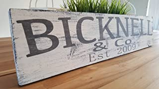 Last name sign Farmhouse personalized distressed wood sign