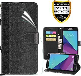 Galaxy J3 2017 Case,J3 Emerge/J3 Prime/J3 Eclipse/J3 Mission/J3 J3 Luna Pro S327/Amp Prime 2/Express Prime 2/Sol 2 Wallet Case,Built-in Slots PU with Screen Protector,Black