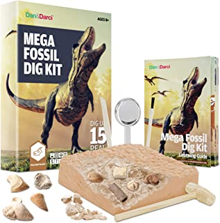 Mega Fossil Dig Kit - Dig Up 15 Real Fossils (Dinosaur Bones, Sharks, & More) - Great Science, Archeology, Paleontology Gift for Boys and Girls - Excavation Toys