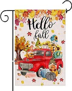 Hello Fall Garden Flag, Double Sided Burlap Red Truck Pumpkin Gnomes Yard Flag Autumn Outdoor 12x18 Inch Small Garden Flags Farm Seasonal Flags