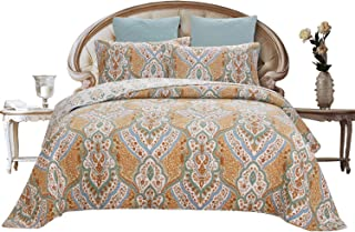 HNNSI Yellow Floral Cotton Quilt Sets Queen Size 3 Pieces, Comfy Bedspreads Comforter Bedding Sets