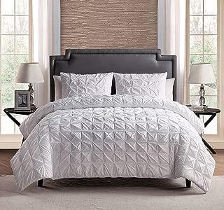 Grand Linen 100% Cotton 3 - Piece Solid White Pinch Pleat Duvet Cover Set King Size Bedding