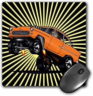 3dRose 55 Chev Image at The Drags Off The Line Wheelie Star Burst Background Mouse Pad (mp_173474_1)