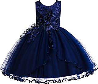 Weileenice 2-12 Years Kids Girls Princess Christmas Dress Lace Flower Pageant Birthday Party Dresses