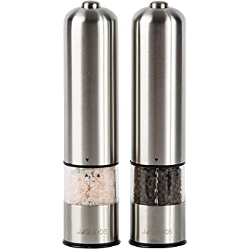 Electric Salt and Pepper Grinder Set - Automatic, Refillable, Battery Operated Stainless Steel Spice Mills with Light - One Handed Push Button Peppercorn Grinders and Sea Salt Mills