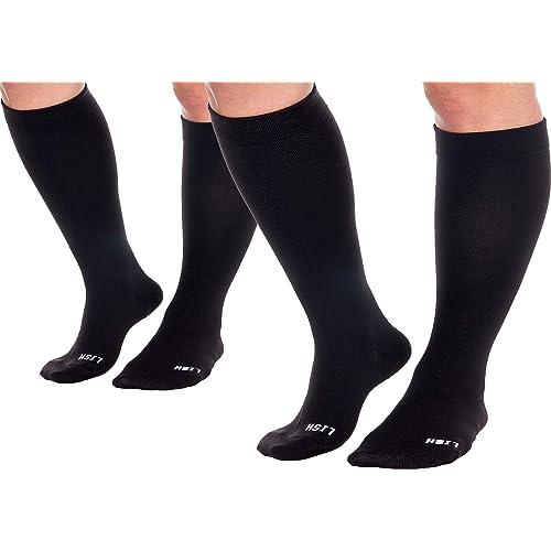 2f3851e9c LISH 2 Pack Plain Jane Wide Calf Compression Socks - 15-25 mmHg Knee High