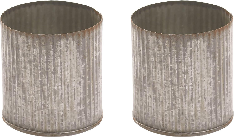 Max 64% OFF Decorative Max 45% OFF Tin Vase Set of 2 Inch x Metal Corrugated 3.25