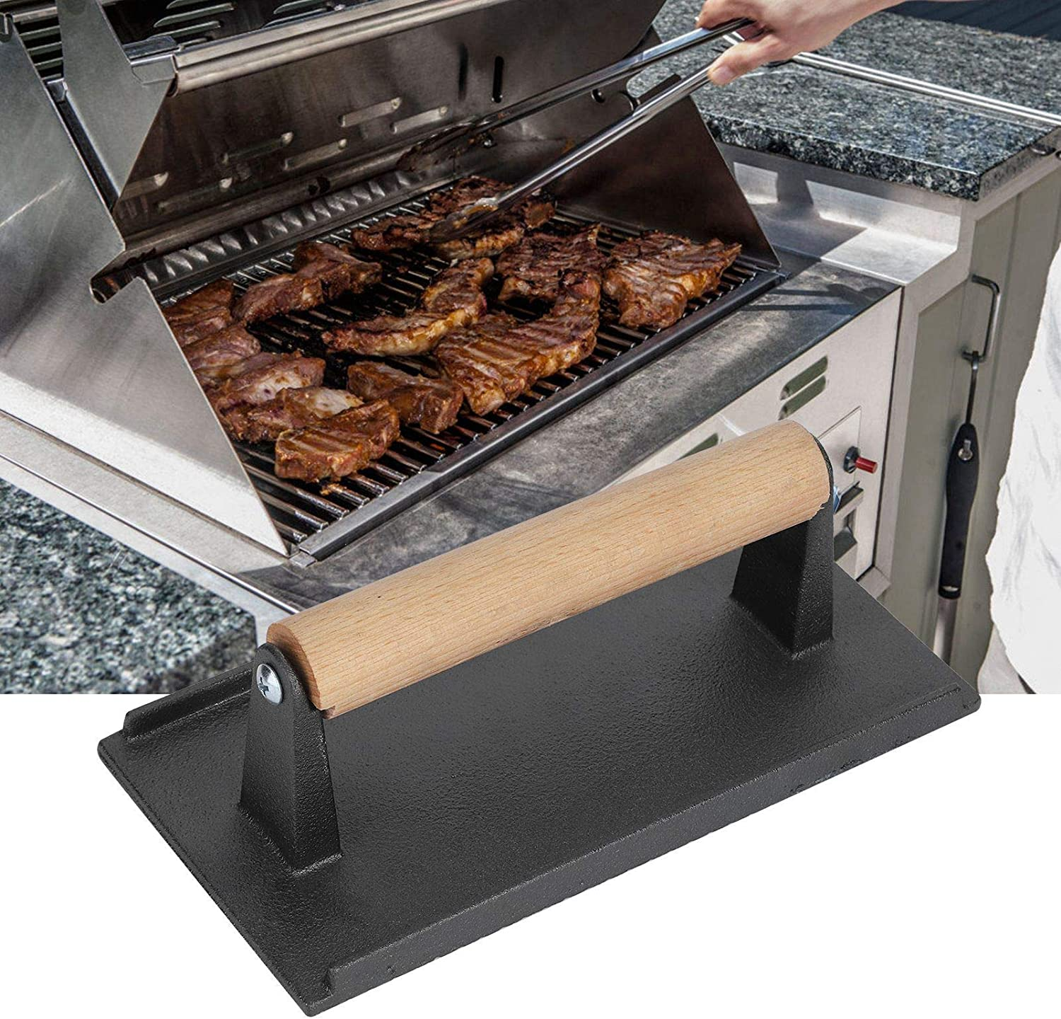 Iron Grill Press Ergonomic To Use Ma Directly managed store Barbecue Cast New product!! Tools