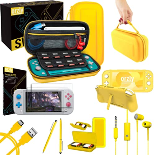 Orzly Switch Lite Accessories Bundle - Case & Screen Protector for Nintendo Switch Lite Console, USB Cable, Games Hol...