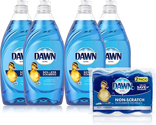 Dawn Ultra Dishwashing Liquid Dish Soap (4x19oz) + Non-Scratch Sponge (2ct), Original Scent (Packaging May Vary), Com...