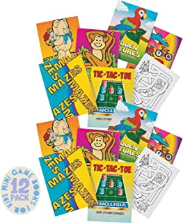 Kicko Mini Game Books for Kids - Pack of 12 - 24 Pages Each 3.5 X 2.5 Inches, Assortment of Educational Brain Games - Acti...