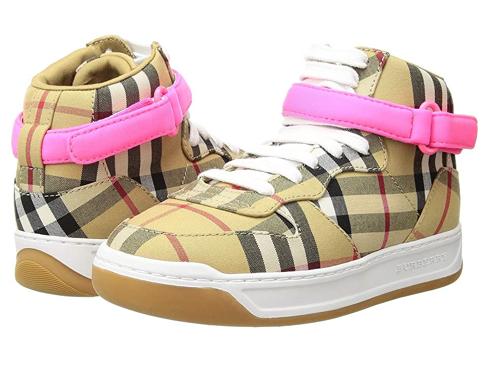 Burberry Kids Hook and Loop Closed Groves (Toddler/Little Kids/Big Kids) (Antique Yellow/Neon Pink) Girls Shoes