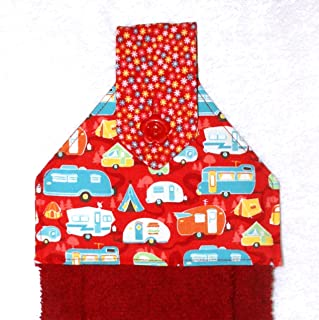 Hanging Hand Towel For Kitchen or Bath - RV Camping Decor - Red Plush Towel - Retro Camping Trailers