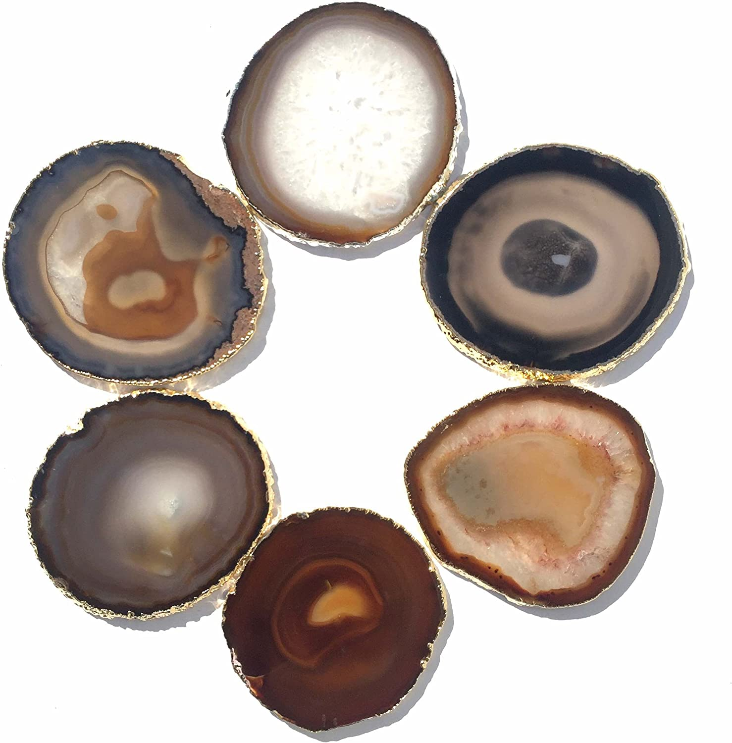 JIC Gem golden Plated Natural Agate Coasters, 6 pcs set, 3-4 , with Rubber Bumper