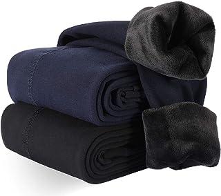 Térmicas Leggins Mujer, 2 Pares Cálidas de Invierno Pantalones, Alta Elasticidad Mujeres Grueso Polainas(Negro +Azul Marino)