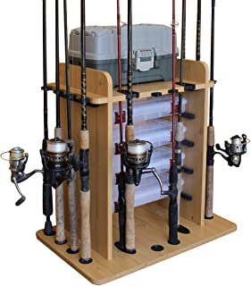 Rush Creek Creations 14 Fishing Rod Rack with 4 Utility Box Storage Capacity & Dual Rod Clips - Features a Sleek Design & ...