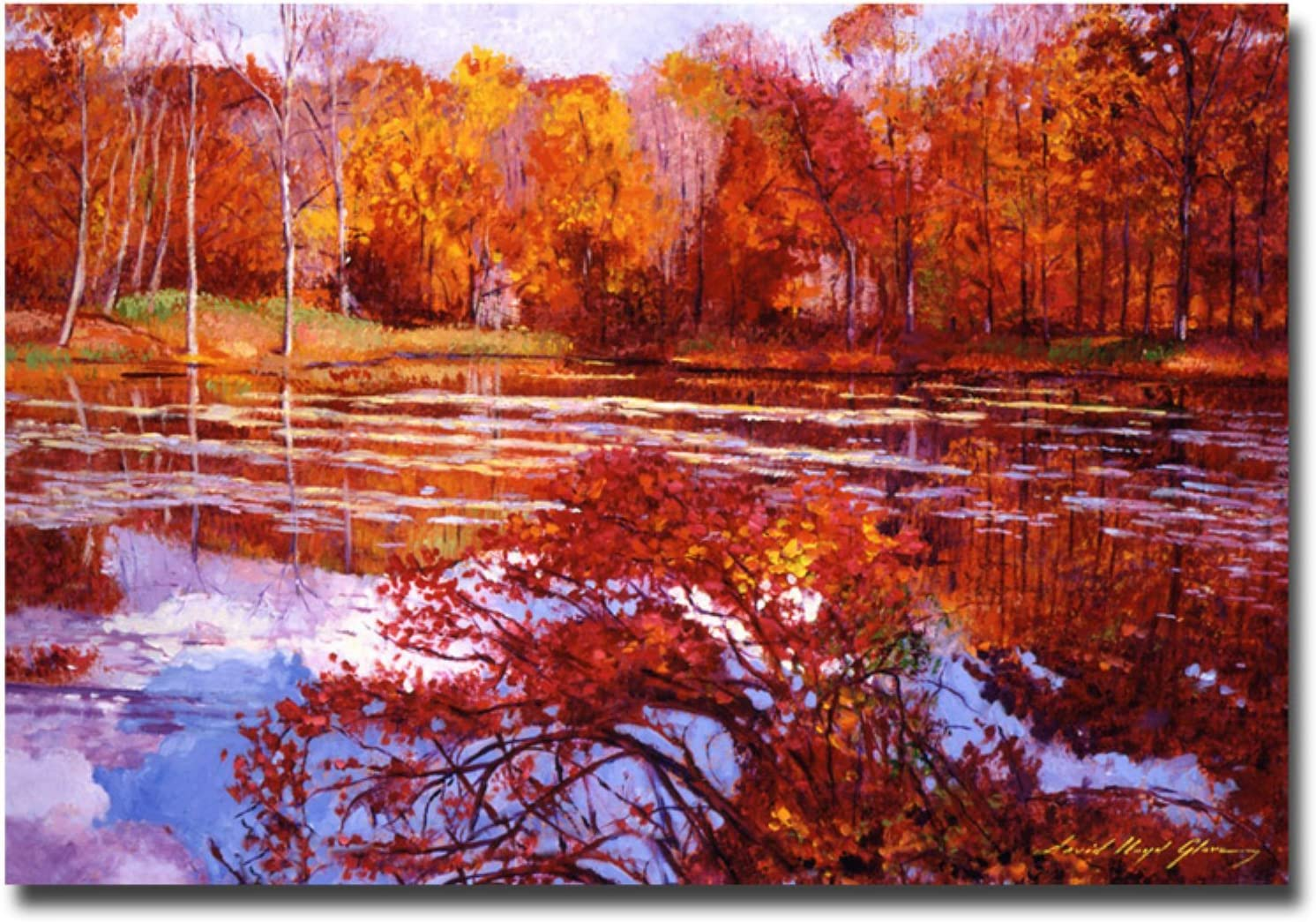 Amazon Com Scarlet Maples By David Lloyd Glover 30x47 Inch Canvas Wall Art Prints Posters Prints