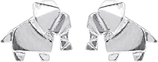 Jewelry Sterling Silver Origami Elephant Stud Earrings