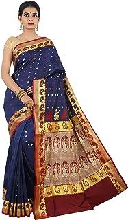 Misal Sarees Women's Handloom Baluchari Silk Saree Bengal Origin with Blouse Piece (Navy Blue-Maroon)