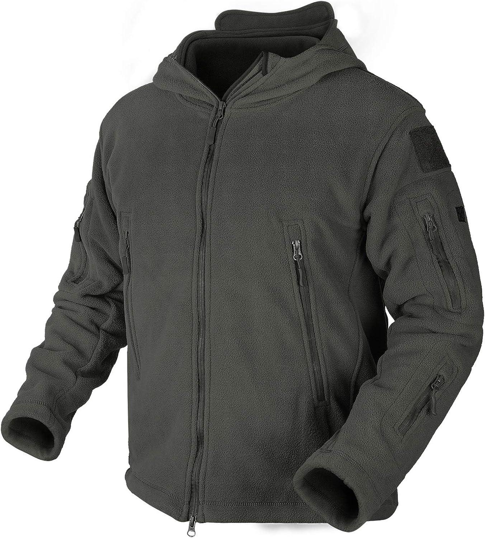 Men's Fleece Military Jacket with Hood and Full Zipper Fall Winter Jackets Multi-Pockets Tactical Jacket