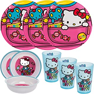 Zak! (9pc) Hello Kitty Kids Mealtime Sets Plastic Plate, Bowl, Cup, Party Supplies Tableware, 3 Sets of 3