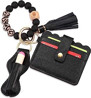BVGA Wristlet Keychain Bracelet Wallet, Silicone Bead keyring Bangle for Women