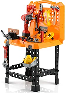 Toy Choi's Pretend Play Series Standard Workbench Toy Tool Play Set, 82 Pieces Construction Work Shop Toy Tool Kit Bench Outdoor Preschool Toy Gift for Kids Toddler Baby Children Boys and Girls