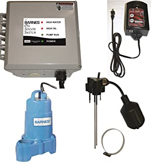 Barnes 135785 BOSS Series Oil Sensor Switch with SP75X Effluent Pump and High Water Alarm, 120V, 1 Phase, 9.8 Amp, NEMA 1 Enclosure