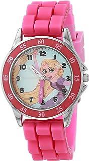 ساعة كوارتز للبنات من ديزني مع حزام من السيليكون، زهري، 15 موديل TTV9002AZ)