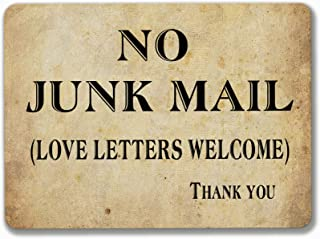 PotteLove No Junk Mail Metal Sign Tin Plaque Aluminum Wall Poster for Garage Man Cave Cafe Bar Pub Club Caffee Beer Patio Home Decoration 12