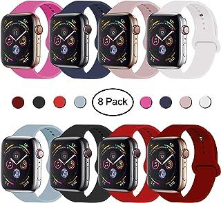 Correa de repuesto para Vati, compatible con relojes de 1.575in, 1.732in, 1.654in, 1.496in, correa de silicona suave para deporte, compatible con relojes 2018, series 4/3/2/1, 1.496in, 1.575in, S/M (arena rosa)
