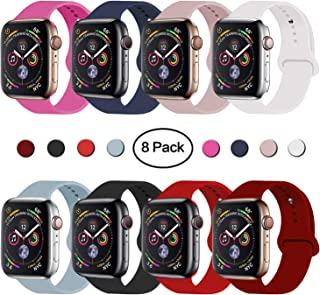 VATI Sport Band Compatible for Apple Watch Band 38mm 40mm 42mm 44mm, Soft Silicone Sport Strap Replacement Bands Compatible with 2019 Series 5 iWatch Apple Watch Series 4/3/2/1, Sport, Nike+, Edition