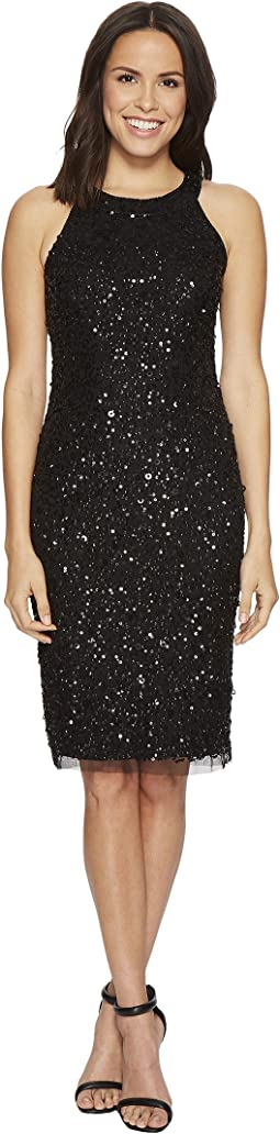 Sleeveless Beaded Halter Cocktail Dress